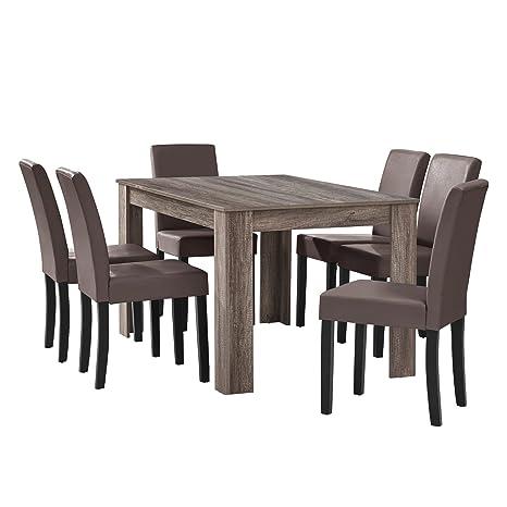 [en.casa] Table à manger en chêne ancien avec 6 chaises marron cuir-synthétique rembourré 140x90