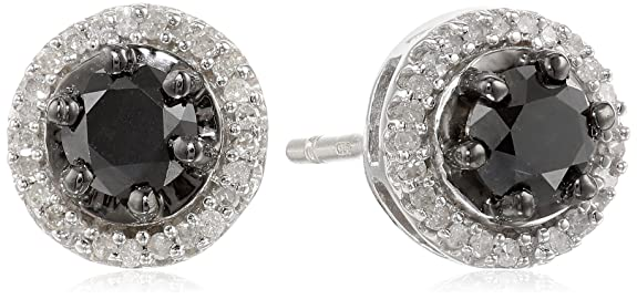 Sterling-Silver-Black-and-White-Diamond-Stud-Earrings-1-cttw-