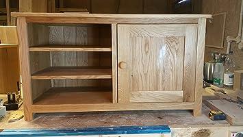 Concept roble macizo mueble para TV, Soporte o, con armarios y 2estantes, ideal para la sala de estar o sala de estar