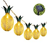 Weepong Pineapple Solar String Lights, 15ft 20 LEDs Fairy String Lights Waterproof Solar Powered Hanging lights for Outdoor Garden Patio Landscape Home Wedding Birthday Party Decoration (Warm White) (Color: Warm White, Tamaño: 20 LEDs Pineapple Solar String Light)
