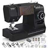 Toyota Super Jeans J34 Sewing Machine (Glides Over 12 Layers of Denim) w/Gliding Foot, Blind Hem Foot, Zipper Foot, Overcast Foot, Needles and More! (Color: Black/Brown w/ Extras)
