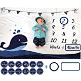 ELLO HOME Baby Monthly Milestone Blanket with 12 Stickers, Large 60