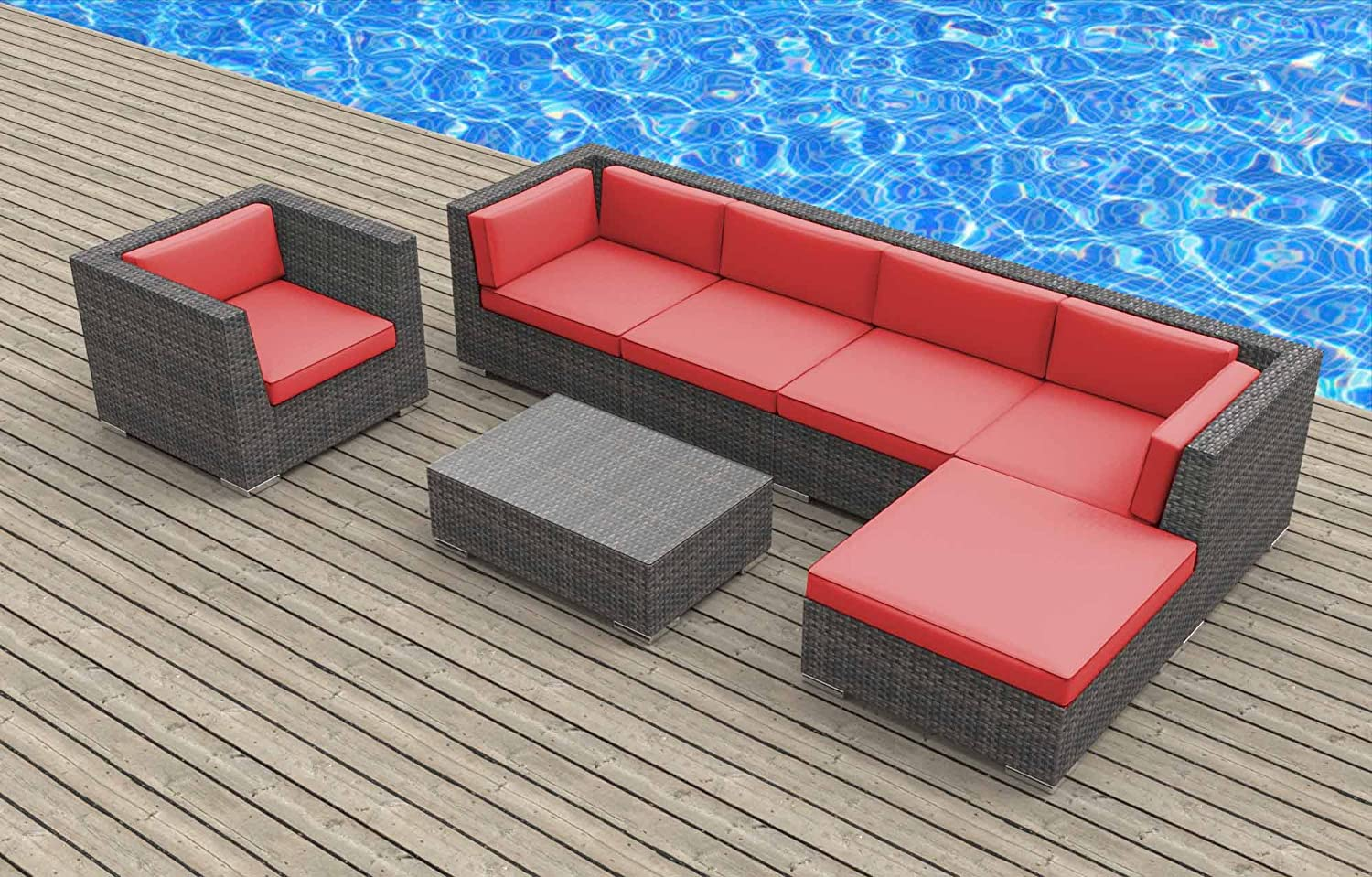 www.urbanfurnishing.net Urban Furnishing - LANAI 7pc Modern Outdoor Backyard Wicker Rattan Patio Furniture Sofa Sectional Couch Set - Coral Red at Sears.com