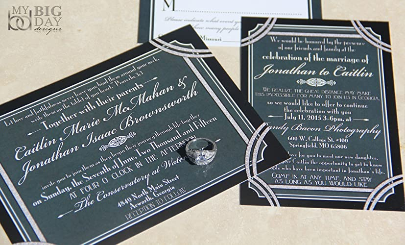 A Glamorous Gatsby Wedding Invitation Sample Set