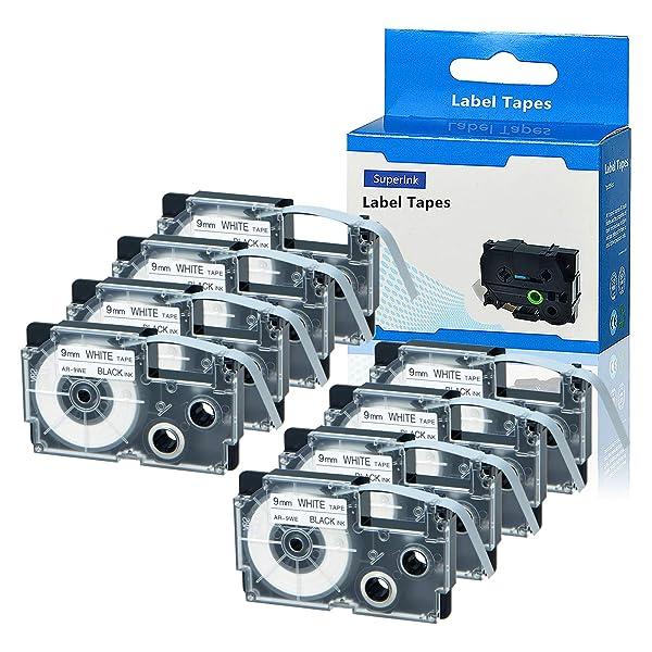 3 PK XR-9WE 9mm Black on White Label Tape for EZ Printer KL-430 1500 7200 8000