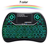 ANEWISH 2.4GHz RF Wireless Mini Keyboard with Touchpad Mouse Combo, Rechargable & Light & Handheld Smart Remote for Google Android TV Box,PS3,PC,PAD (Color: Colorful)
