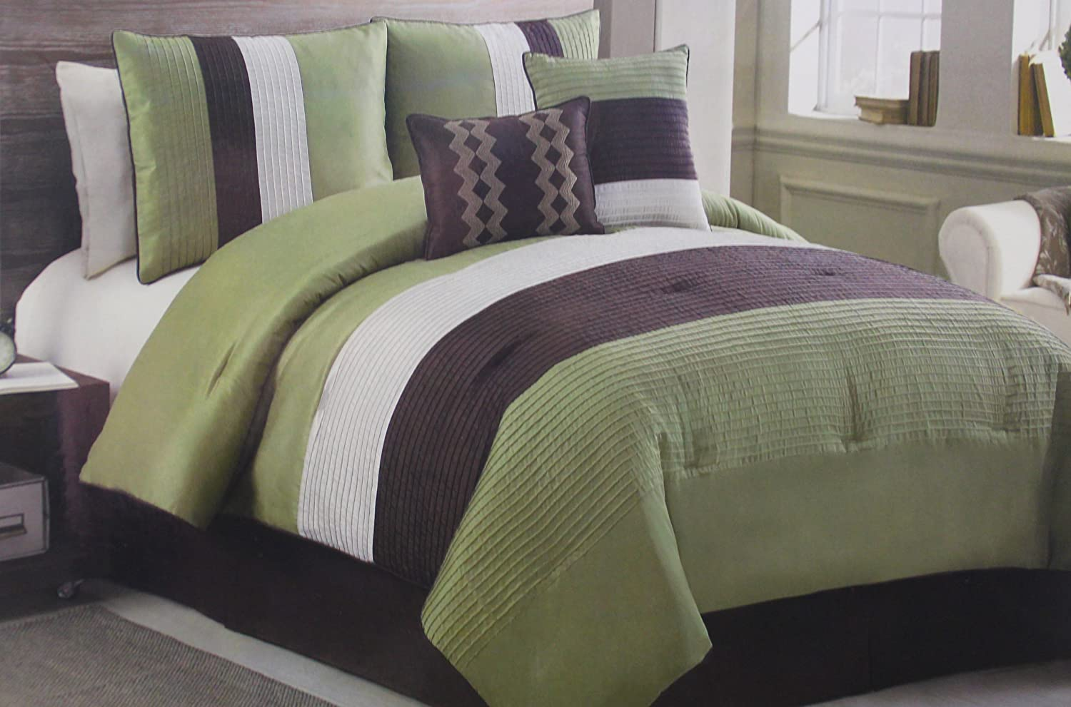 6 Pc Sage, Brown, And Beige, Striped, Bed In A Bag, Amazing Ideas