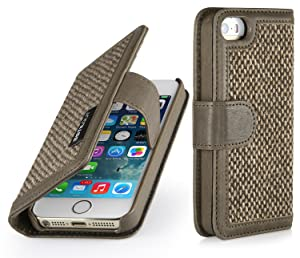 StilGut  Talis  Wallet, Book Type Genuine Leather & Donegal Tweed Case for Apple iPhone 5 & iPhone 5s, Camel Brownreview and more information