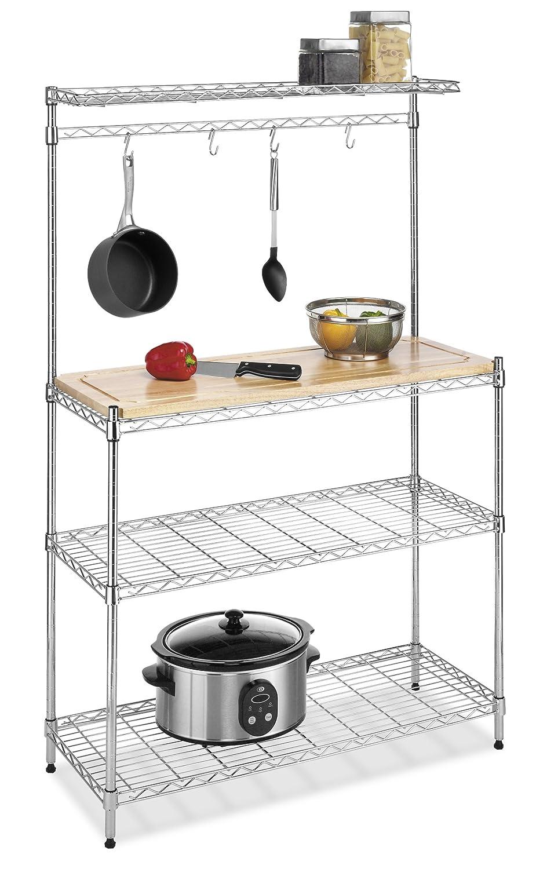 Bakers rack kitchen storage wood cutting board chrome - Kitchen cabinet shelving racks ...