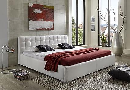 SAM® Polsterbett in weiß 140 x 200 cm Bett im modernen Design, Seiten- und Kopfteil abgesteppt [53256237]