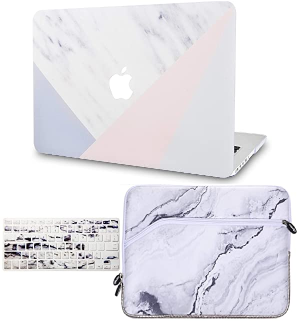KECC Laptop Case for MacBook Air 13 w/Keyboard Cover + Sleeve Plastic Hard Shell Case A1466/A1369 3 in 1 Bundle (White Marble with Pink Grey) (Color: White Marble with Pink Grey + Sleeve + Keyboard Cover, Tamaño: A1466/A1369 Mac Air 13 (No Touch ID))