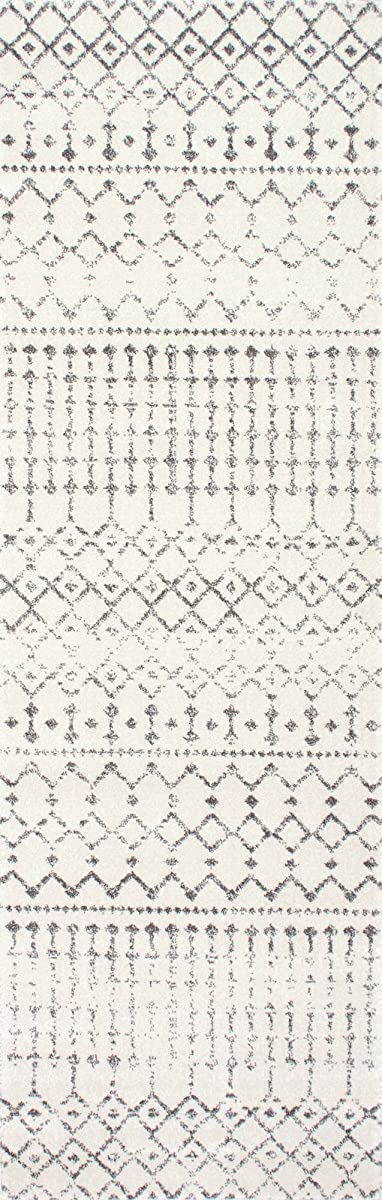 "nuLOOM RZBD16A Moroccan Blythe Runner Rug, 2 8"" x 8, Grey"