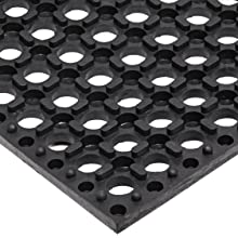 NoTrax Rubber 543 Cushion-Tred Anti-Fatigue Drainage Mat, for Wet Areas, Black