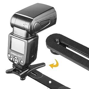 ChromLives 1/4 Dual Camera Mount Flash Bracket Extension Bar 10.6 Straight Flash Bracket Tripod Mount Bracket for DSLR Camera LED Light Flash Light