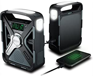 Eton FRX5-BT AM/FM/NOAA Emergency Weather Radio With S.A.M.E. Technology And Bluetooth, Smartphone Charger, Display And Alarm Clock, Rugged And Reliable, 2000 Mah Rechargeable Battery, LED Flashlight, Solar Charging/Crank Charging