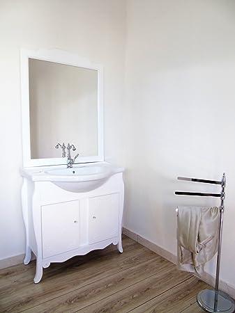 Arredo bagno 85 cm shabby chic contemporaneo con decori mobile bagno bianco