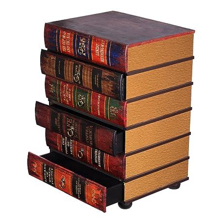 Kleinmöbel, HY1E034 Kommode, schweres Regal im Buchlook, Teeschrank, Holz Telefontisch, Kommode, jedes Buch ist eine Schublade, 6 Schubladen, Flurkommode, Tisch, im Vintage Shaby Look, Antikoptik, Holz, Maritim, Deko, Hochwertig, 64 cm hoch 36 cm tie