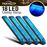 Partsam 4pcs Blue Slim Line Utility Strip 18 Diodes Sealed Light 8