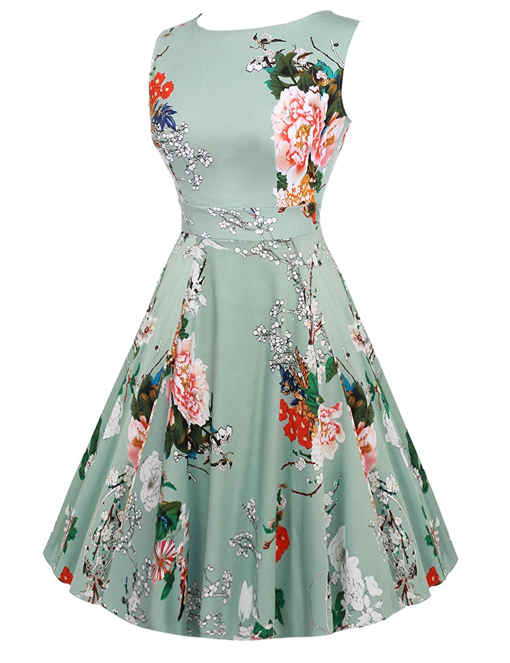 ACEVOG Vintage 1950's Floral Spring Garden Party Picnic Dress Party Cocktail Dress 2