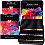 72 Professional Colored Pencils, Artist Pencils Set with 2 x 50 Page Drawing Pad(A4), Premium Artist Soft Series Lead with Vibrant Colors for Sketching, Shading & Coloring in Tin Box (Color: 72PCS)