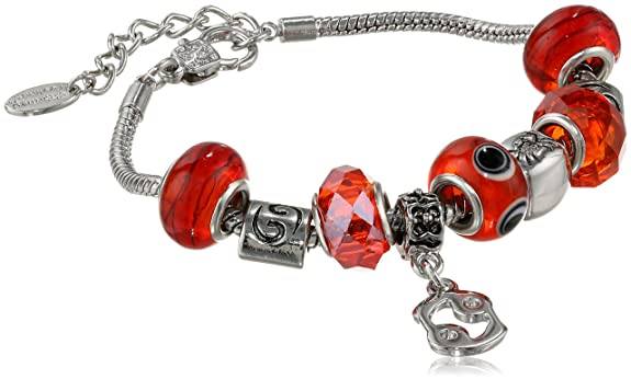 Cancer Murano Style Glass Beads and Charm Bracelet