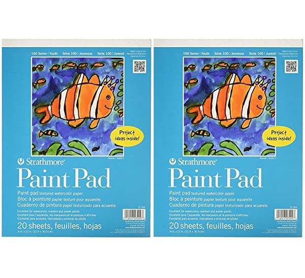 Strathmore 27-209 100 Series Youth Paint Pad, 9x12 Tape Bound, 20 Sheets (Tw? P?ck) (Tamaño: Tw? P?ck)