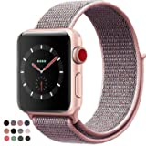 VATI Compatible for Apple Watch Band 38mm 42mm Soft Breathable Nylon Sport Loop Band Adjustable Wrist Strap Replacement Band Compatible for iWatch Series 3/2/1, Sport, Nike+, Edition (Color: Pale Pink & Pink Sand, Tamaño: Watch 42MM)