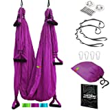 Pavandeep Yoga Swing Aerial Yoga Hammock or Trapeze (Purple, Sling with Handles) (Color: Ultra Violet, Tamaño: Sling with handles)