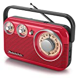 Studebaker SB2003 Retro Portable AM/FM Radio AC or Battery Operated (red/Black) (Color: red/black)