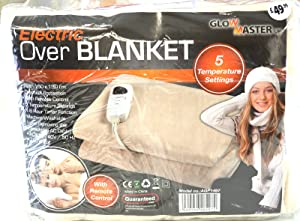 GLOWMASTER LUXURY FLEECE HEATED ELECTRIC OVERBLANKET BLANKET THROW CREAM BROWN       review and more information
