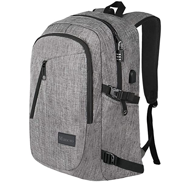 Business Travel Backpack Water Resistant with USB Charging Port Color Grey
