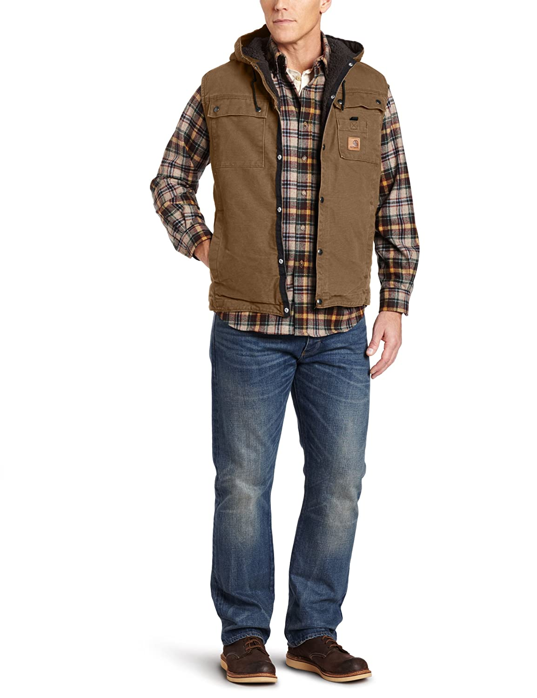 Carhartt Men's Big-Tall Sandstone Duck Hooded Multi Pocket Vest Sherpa Lined
