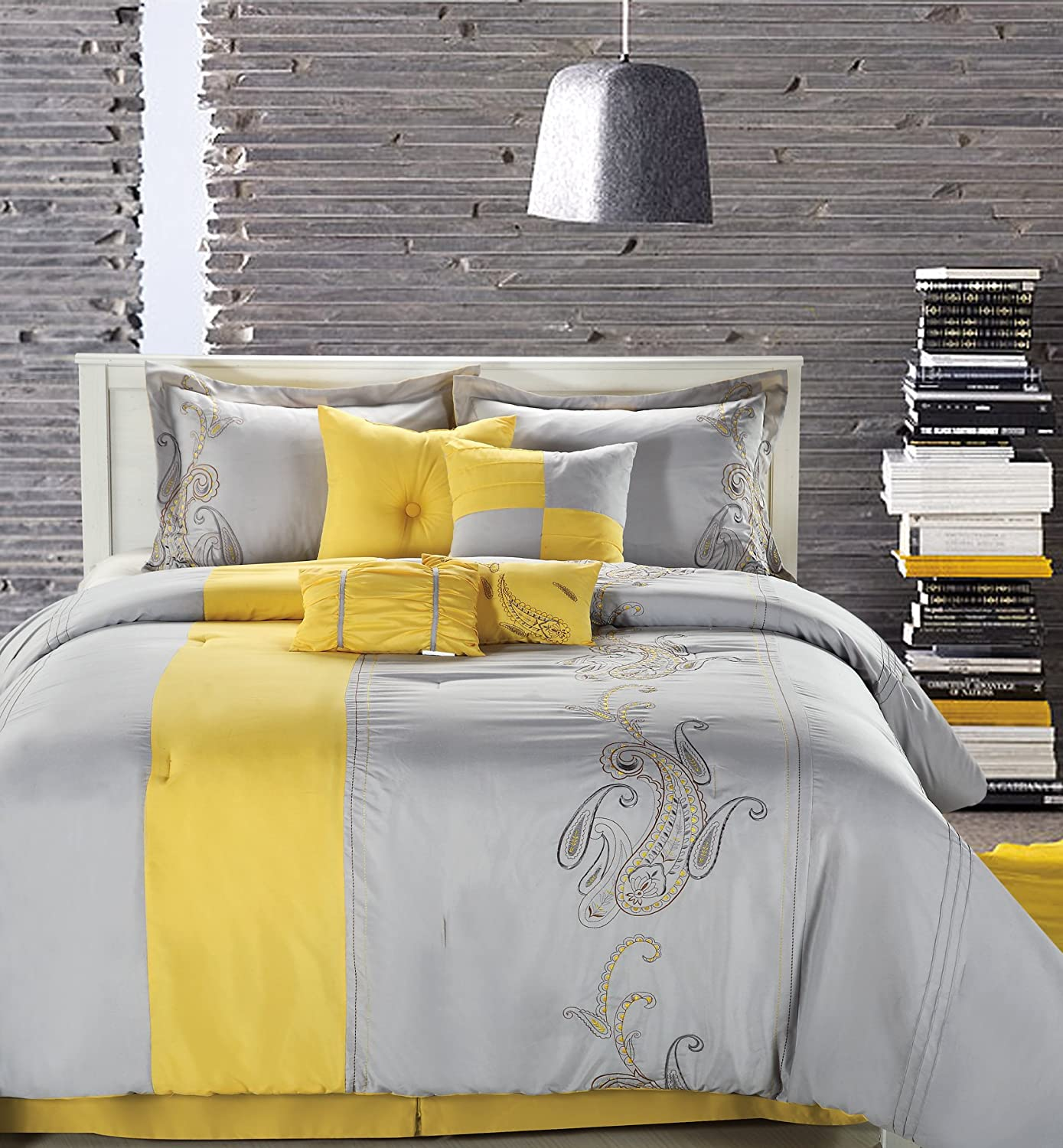 yellow and grey bedding sets ZUvbQ5SI