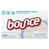 Bounce Fabric Softener and Dryer Sheets, Free & Gentle, 240 Count