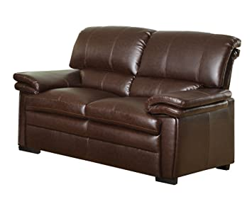 Homelegance Constance 9720-2 Love Seat, Dark Brown with Bonded Leather Match