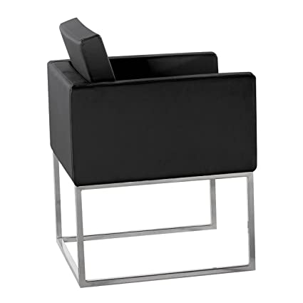 Premier Housewares PVC Chair with Steel Legs - 68 x 62 x 65 cm, Black