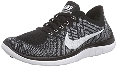 Nike Men\u0026#39;s Free 4.0 Flyknit Black/White/Wolf Grey/Drk Grey Running Shoe