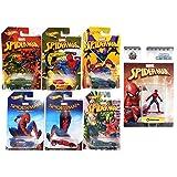 Hot Wheels Marvel Spider-Man Homecoming Movie Exclusive set Collectible 6 car bundle & Marvel Nano Metalfigs Spider-Man 1.5-Inch Diecast Figure MV1 (Color: Multi)