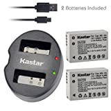 Kastar Battery (X2) & Dual USB Charger for Canon NB-10L, NB10L and PowerShot SX40 HS SX40HS, SX50 HS SX50HS, G1 X G1X, Powershot G15, PowerShot G16 Digital Cameras (Tamaño: 1 Dual charger + 2 batteries)