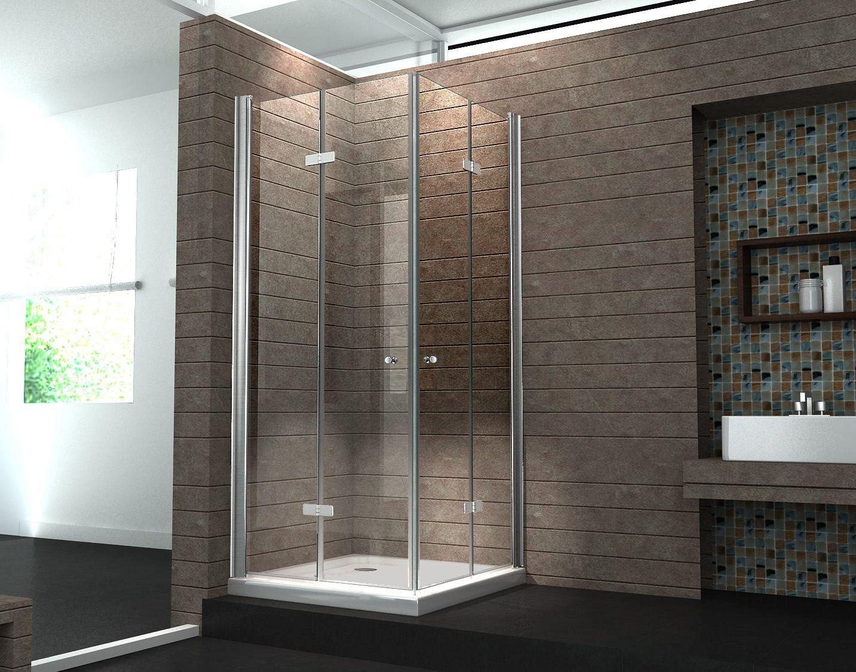 Falttür Duschkabine 8 mm Duschabtrennung Eckeinstieg Dusche Echt Glas 100 x 100 x 195 cm CLAP ohne Duschtasse  Überprüfung und Beschreibung