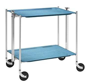 Platex Textable Trolley 2 Shelves Laminated Azure / Chrome