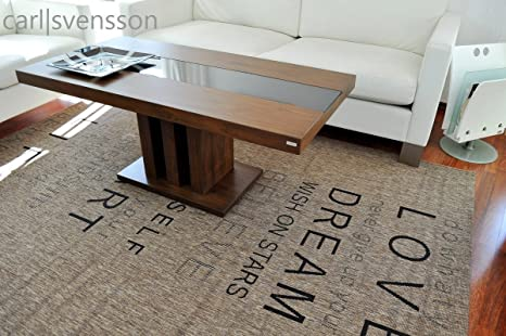 Design Couchtisch S-444 Walnuss / Nussbaum getöntes Glas Carl Svensson