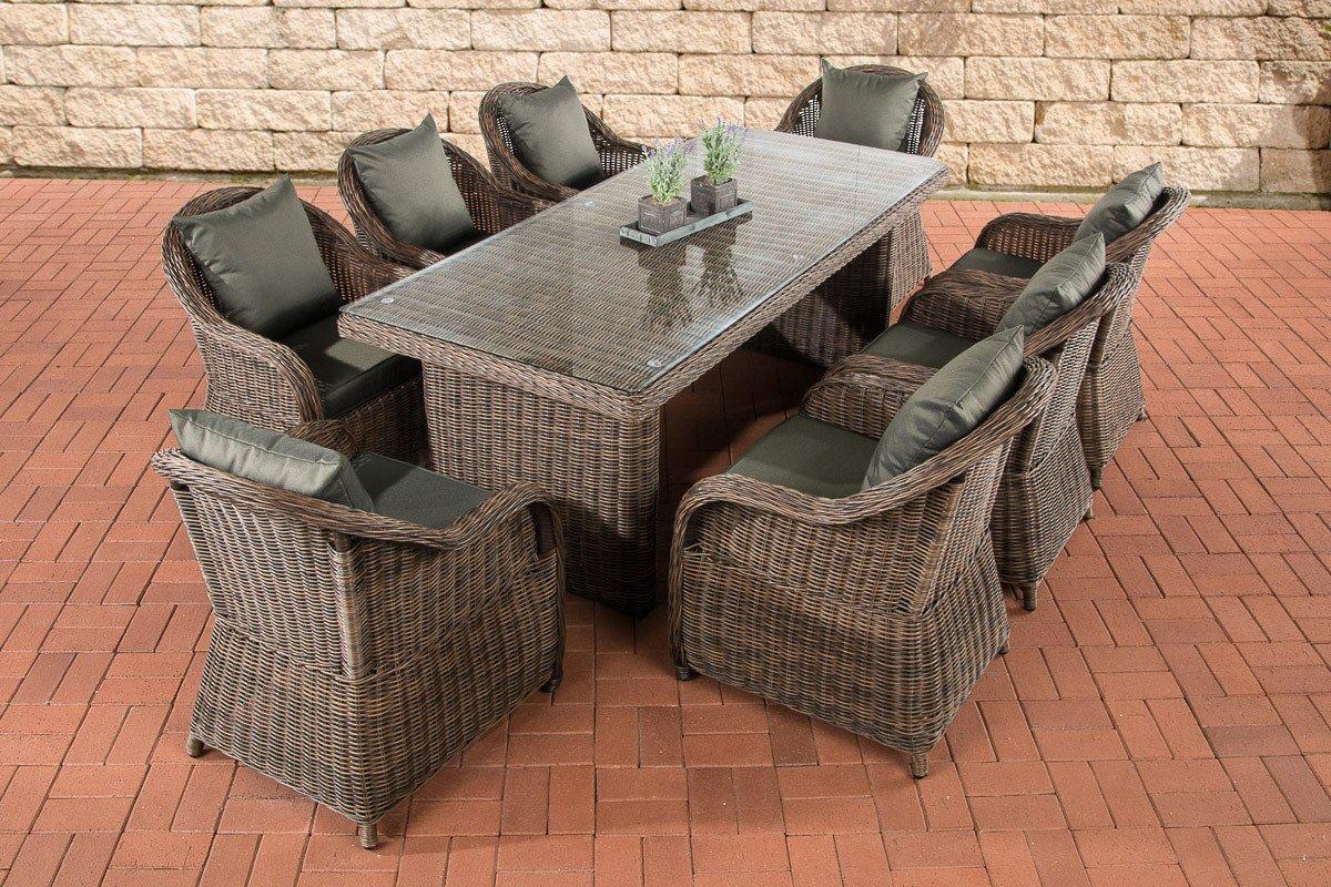 CLP Polyrattan Sitzgruppe LAVELLO XL braun-meliert, Tisch 200 x 90 cm + 8 Sessel inkl. Sitz- und Rückenkissen braun-meliert, Bezugfarbe anthrazit