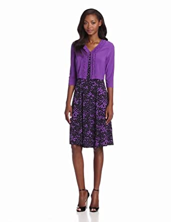 Danny & Nicole Women's Print Dress With Jacket, Purple, 10