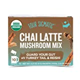 Four Sigmatic Chai Latte with Turkey Tail & Reishi Mushrooms - Dairy-free, USDA Organic Latte with Coconut Milk Powder - Gut, Digestion - 10 Count