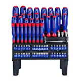 WORKPRO 100-Piece Screwdriver Set with Magnetic Tips and Bits, Storage Rack Included (Color: Red&Blue)