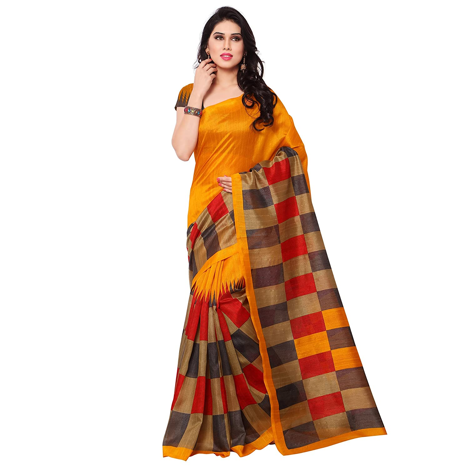 Samskruti Sarees Women's Checkerd Print Art Silk Saree