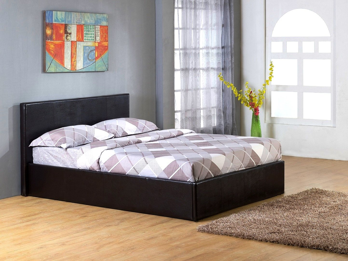 Black 4`Small Double Gas Lift Up Ottoman Faux Leather Storage Bed       Customer reviews and more information