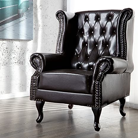 LARGE DESIGN WING BACK CHAIR ROYAL upholstered fabric armchair brown