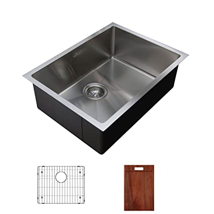Ukinox RS558.GC Modern Undermount Single Bowl Stainless Steel Kitchen Sink with Bottom Grid & Cutting Board